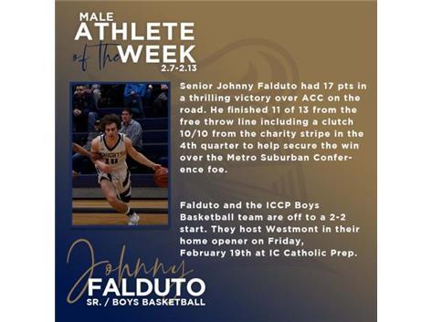 Senior Johnny Falduto named Male Athlete of the Week (Feb 7)