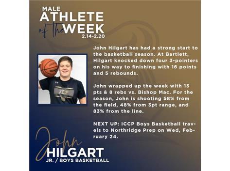 Jr. John Hilgart named Male Athlete of the Week (Feb 14)