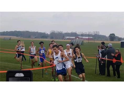 Daniel Chen and Daniel Soto competing at the Kaneland cross country sectional