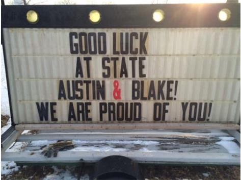 Good Luck to Austin Butler and Blake Boyle as they compete at the IHSA State Wresting Championships.