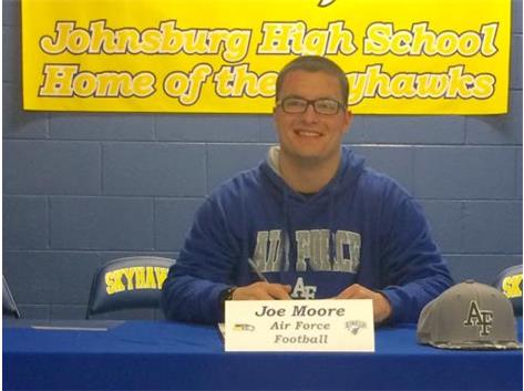 Congratulations to Joe Moore who will continue his education and football career at the Air Force Academy.