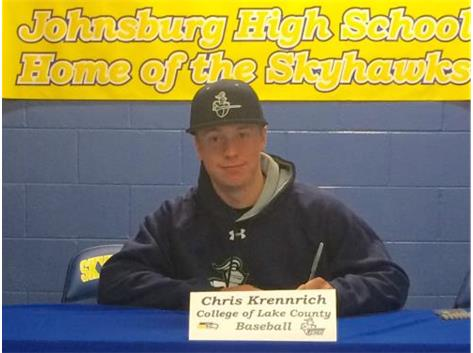 Congratulations to Chris Krennrich who will continue his education and baseball career at the College of Lake County.
