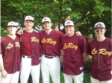 2012 Seniors after defeating Peoria Heights at Eureka College.  L to R: Brad Kirby, Nolan Sammer, Coach Meyer, Caleb Graybeal, James Mettrick