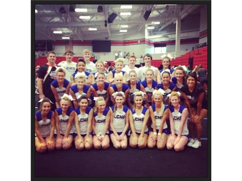 Basketball Cheer with their camp buddies, Roger and Ashley! They were wonderful to our team!