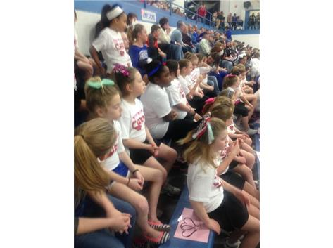Limestone clinic participants watching an exciting game vs. East Peoria.
