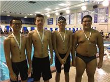 Andy Lam, Josh Espinoza, Erik Perez, and Armani Ortiz finishing 2nd in the White Division of the Maine East Demon Invite in the 300 Backstroke Relay