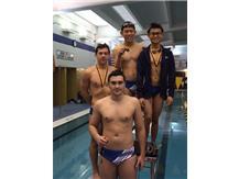 Josh Espinoza, Haris Husejnovic, Richard Phan, & Andy Lam finishing 4th in the 200 Medley Relay.