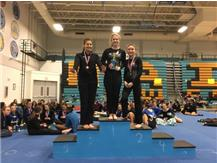 1st Place Overall, Varsity Floor Exercise at Maine West Invite (Una Coralic, Tiffany Russotto, Afroditi Baltsas)