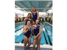 Jordan Oslowski, Sophia Learnahan, Jasmine Lopez, and Alyssa Klug place 2nd in the Varsity 400 Yard Free Relay!
