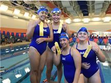 Rianca Argenal, Jessica Espinoza, Jasmine Lopez, and Jessica Domian place 4th in the 200 Yard Freestyle Relay!