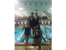 Nives Ramich, Maggie Musiejuk, Krina Shah, and Damaris Tellez place 3rd in the 500 Yard Freestyle Relay!
