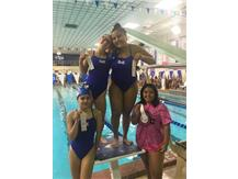 Jiral Modi, Maggie Musiejuk, Ariel Aguilera, and Damaris Tellez placing 3rd in the JV 400 Yard Medley Relay