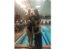 Jordan Oslowski, Sophia Learnahan, Jasmine Lopez, and Alyssa Klug place 1st in the Varsity 400 Yard Medley Relay!