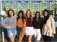 2019 SENIOR NIGHT CELEBRANTS L/R Sydney C., Richa P., Victoria Z.,  Ramal N. and Safa K.