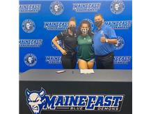 Amanda with Coach DeLeon and head athletic trainer, Megan Luetje at her signing day event. Amanda will be playing women's soccer at College of DuPage next season.