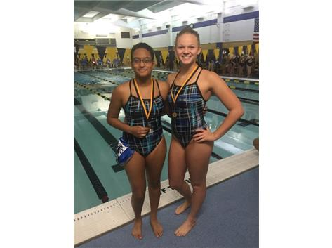 Smurti Amin, and Alyssa Klug finishing second in the 100 Yard Back Relay.