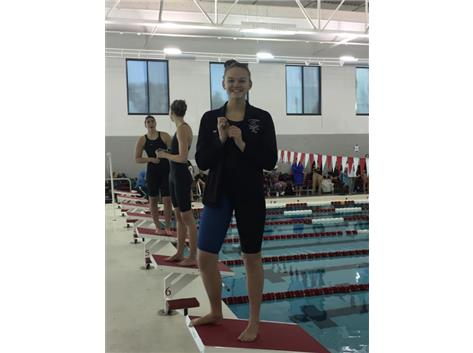 Alyssa Klug qualifying for state in the 100 and 50 Freestyle