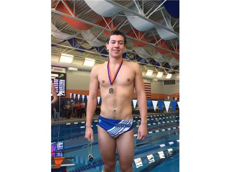 Josh Espinoza finishing 3rd in the 200 Freestyle at the Hoffman Invite.