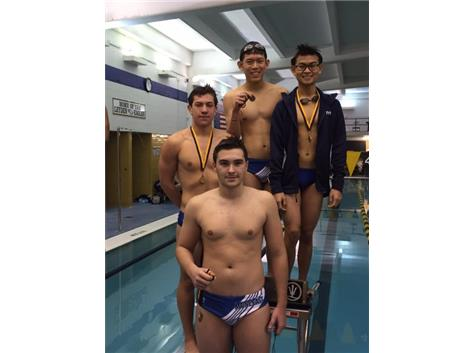 Josh Espinoza, Haris Husejnovic, Richard Phan, & Andy Lam finishing 4th in the 200 Medley Relay.