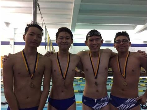 Gegee Chinbat, Nathan Halim, Richard Phan, & Erik Perez finishing 6th in the 200 Freestyle Relay.