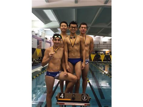 Josh Espinoza, Nathan Halim, Ryan George, & Andy Lam finishing 4th in the 400 Freestyle Relay.