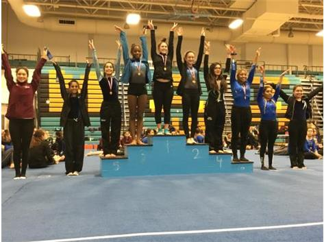 Denise Aziz - 5th Place,  Brahmi Shah - 8th Place,  Jessica Espinoza - 9th Place,  JV Uneven Bars at Maine West Invite