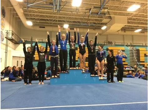 Afroditi Baltsas - 1st Place, Una Coralic - 4th Place, Tiffany Russotto - 8th Place, Varsity Floor Exercise at Maine West Invite