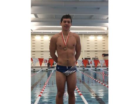 Josh Espinoza finishing 3rd in the 100 Freestyle at Hersey Invite