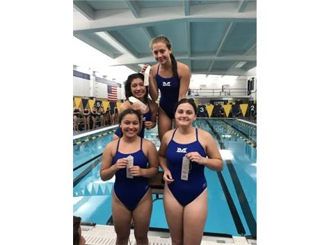 Sophia Learnahan, Jessica Domian, Jasmine Lopez, and Jessica Espinoza place 3rd in the Varsity 200 Yard Medley Relay!
