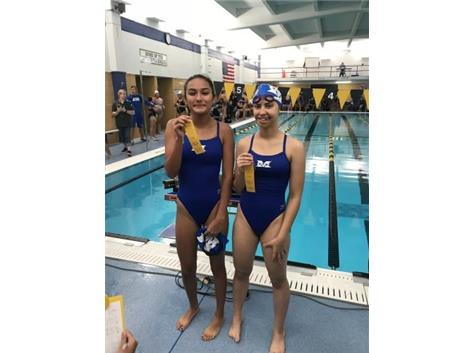 Karla Perez and Simona Zlatkova place 4th in the Freshman 200 Yard Free Relay!