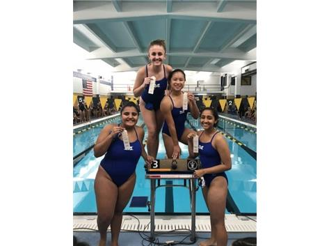 Jiral Modi, Krina Shah, LuAnn Bonilla, and Nives Ramich place 3rd in the Varsity 200 Yard Free Relay!