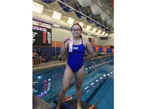 Rianca Argenal places 6th in the 100 Yard Butterfly!