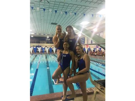 Sophia Learnahan, Jordan Oslowski, Rianca Argenal, and Alyssa Klug place 3rd in the Varsity 400 Yard Medley Relay!