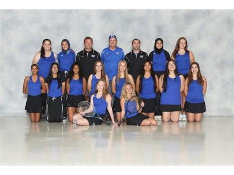 Varsity Squad pictured with Head Coach Isaacks, Asst. JV Coach Disrude and  Asst. Freshmen Coach Pastiak