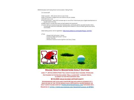 June 1st Maine South Boosters Golf Outing