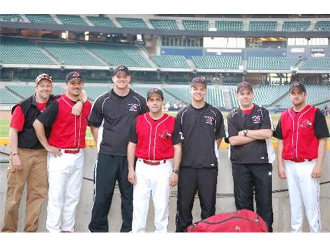 Baseball Coaches prior to game at Miller Park
