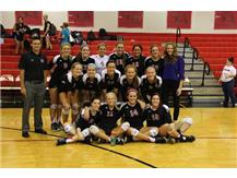 Marist Girls Volleyball Team  after defeating Bishop McNamara to claim an undefeated ESCC season and Conference Championship