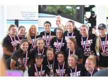 Softball State Champions pose with medals upon return to Marist June 13, 2015