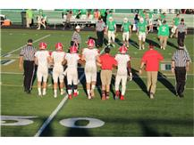 Football Captains Skalitzky, Glascott, Weaver, Holder, Holmes and McCullough with Coach Dunne head to Coin Toss vs. Notre Dame