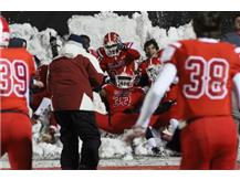 All ESCC LB #33 Micah Awordian leads celebration in snow after 31-6 Semi-Final victory over Waubonsie Valley