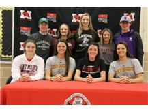 Marist Seniors sign LOI to continue their academic and athletic careers in college. Seated l to r ; Caily Landers, Julia Ruzevich, Claire Austin, Kate Ruzevich. Standing l to r Matt Donahue, Hannah Tapling, Maddie Dunterman, Alexis Rogers and Colin Pfotenhauer