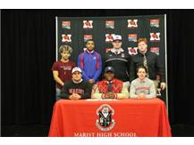 Marist seniors signed LOI February 1 to continue their student athletic and academic careers. (Seated l to r) David Tischina - University of St, Francis football, Micah Awodiran - Yale University football, David Regan - UW Platteville Soccer, Elijah Hynes - Concordia baseball, Robert Topps III - Kansas football, Billy Kuduk -Kansas State football and Tommy O'Mara -Western Michigan football. Congratulations to all!