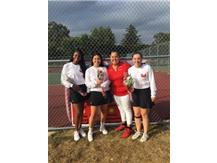 Seniors Caitlyn Foggie, Evelyn Sanchez, Coach Nicole Selvaggio and Kaitlyn Mayer enjoy Senior Day October 3, 2017 with a victory over Marian Catholic,