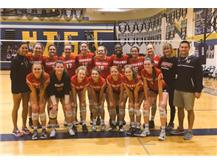 Varsity Volleyball is all smiles after winning the championship of the St Thomas Aquinas Michelle Smith Tournament in Kansas City October 14, 2017