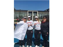 Nicole Micklin 1st Place Singles, Kat Balchunas & Bella Rabianski 3rd Place Doubles with Coach Salvaggio