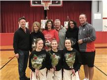 Seniors Abby Callahan, Nora Donegan and McKenna Killianis celebrate Senior Night 2019