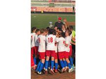varsity soccer celebrates after winning Pulaski Cup vs. Brother Rice on Saturday, September 7, 2019