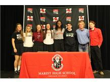 Marist student-athletes signed Letters of Intent to continue their athletic careers in college. Pictured from left to right: Mairead Boyle, Volleyball, Western Michigan; Mia Crotty, Softball, Wisconsin Oshkosh; Brianna Brown, Softball, University of Pennsylvania; Maddie Arundel, Volleyball, Ferris State; Camryn Hannah, Volleyball, Clemson; Dane Thomas, Baseball, Wright State; Brett Freiberg, Rock Valley Junior College, Will O'Boyle, Baseball, North Central College.November 13, 2019