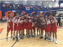 2019 State Champions! Boys Volleyball celebrates their thrilling 25-21, 25-23 victory over Glenbard West on June 1, 2019.