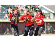 Kaitlin Kenny, Kristen Klutcharch, and Katie Caufield celebrate after recording the final out of the Semi Final game.